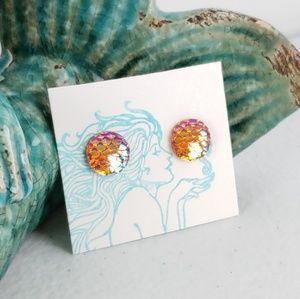 3/$15 Orange Mermaid Scale Flatback Stud Earrings